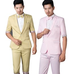 Wholesale-2016 New England style photography suits men cultivating leisure suit Korean short sleeve Theatrical Costume pants