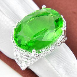 Wholesale Half Dozen Pieces Unique Party Jewelry Fire Green Quartz Crystal Gemstone Russia Sterling Silver Plated USA Weddiing Party Ring
