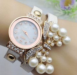 Wholesale Fashion rhinestone belt quartz watch women diamond pearl butterfly layers leather bands wristwatch bracelets bangle charm jewelry gift