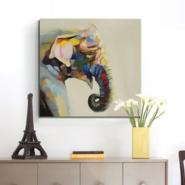 Wholesale Handpainted Animal Abstract Art For Home Decor High Quality New Home Lovely Cute Elephant Oil Paintings on Canvas Hang Pictures
