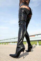 Wonderheel Hot extreme high heel 12cm metal heel sexy fetish stiletto patent thigh high boots women sexy crotch boots