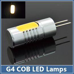 Wholesale 10x G4 LED Lamps DC V W Crystal Corn RV Reading Bulbs Droplight Chandelier COB Spot Light Aluminum Indoor Lighting