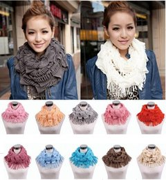 Wholesale Long Neck Girls - Womens Winter Warm Knitted Layered Fringe Tassel Neck Circle Shawl Snood Scarf Cowl Girl Solid Long Soft Infinity Scarves Wraps