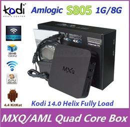 Wholesale 100pcs Android Kitkat TV BOX MXQ Amlogic S805 Quad Core H GB GB XBMC Kodi Fully Load Free Movie Sports Media Player Mini PC
