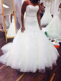 Real Picture Plus Size Mermaid Wedding Dresses With Beads Lace 2016 Tulle Applique Garden Sweep Length Bridal Gown Custom Made