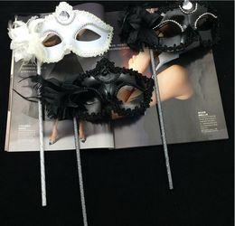 Women New Style Handheld Venice Masks Flower Masquerade Mask Ladies Party Half Face Masks Halloween Graduatio Party Activity Sexy Masks