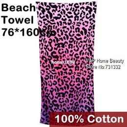 Wholesale Large bath towel Cotton Beach Towel Beautician toalha Pink Leopard print for adults Terry Towel novelty households