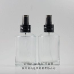200ml clear transparent Glass travel refillable perfume bottle with black aluminum atomizer sprayer,perfume container