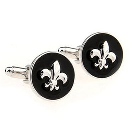 Wholesale New Classic Round Fleur De Lis Cufflinks Formal Shirt Sleeve Button Sparta warrior shield Pattern Cuff link Wedding Party Gift