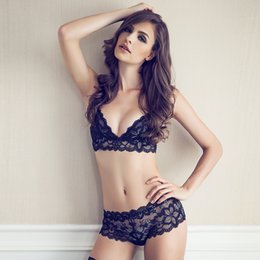 Wholesale Full lace transparent ultra thin temptation underwear bra set french brand summer lingerie ladies sexy underwear set S M L XL