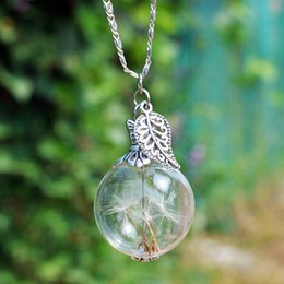 Wholesale 25MM Dandelion Real Seed Glass Bulb Wish Necklace Dandelion Seed Necklaces Dandelion Necklace Make A Wish Necklace for Christmas Gifts