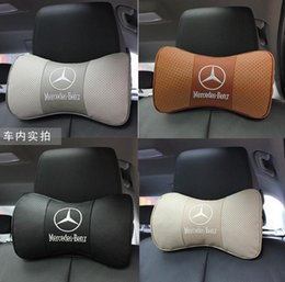 Wholesale Levels of Mercedes GLK GL class C E S level grade B R ML level leather headrest The bamboo carbon neck pillow Cowhide pillows