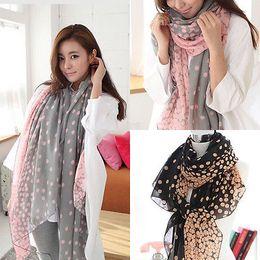 Wholesale-Women Fashion Long Style Wrap Lady Shawl Geometric Chiffon Scarf Scarves Hot