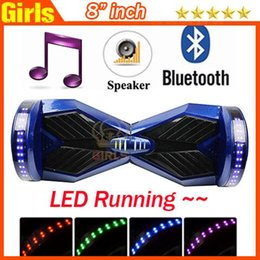 Wholesale 8 INCH Hoverboard Smart Balance Wheel with Bluetooth music player LED rgb scooter running lights Electric Scooters faster shipping