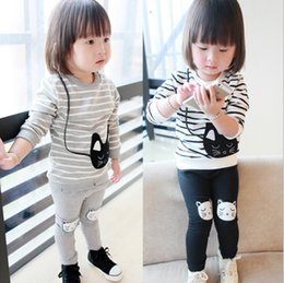 Wholesale Autumn spring children clothing Girl Stripe cat Clothes Suit top pants Cotton color S L
