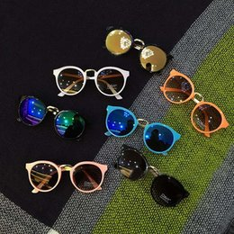 Wholesale 2016 New fashion Children colorful sun glasses boys and girls metal sunglasses kids Round Adumbral Glasses baby accessory lovekiss C21607
