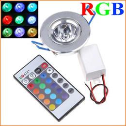 Wholesale-5PCS High Brightness 3W 1-LED RGB led Downlight Ceilinglight downLamp Spot light Remote Control ceiling lamp Lighting