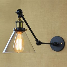 American industrial loft iron black glass wall sconce cafe bar hotel corridor glass wall light Decorative wall sconce