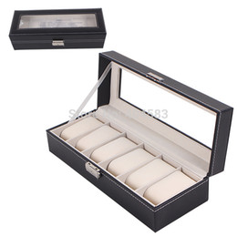 Wholesale-6-Gird Watch box lock with key Watch storage box watch display box Retail Wholesale Watch Display Case Leather+ thick plywood