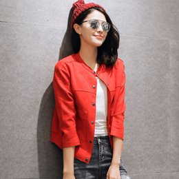 Wholesale-High quality 2015 Hot Autumn Suede Jacket Women Fashion Casual Female Jacket Cardigan Red Short Thin Faux Suede Coat Jacket Top