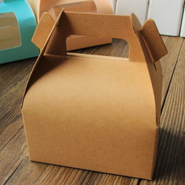 Wholesale Brown Kraft paper cake box with handle_wedding party favour boxes good for handmade gift packing box soap muffin cookies