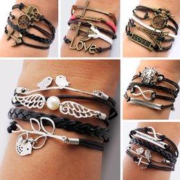 Wholesale-leather bracelets for women Jewelry Vintage Anchors Rudder Metal Leather Bracelet Rope Bracelets Wrap Bracelets Wholesale