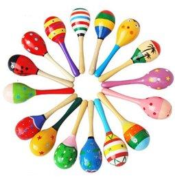 Wholesale Baby Educational Toys Can be Sound Small Hammer Wood Materials Small Colored Sand Hammer Kids Toys