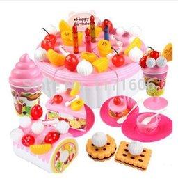 Wholesale Christmas gifts pc set Children play house Birthday toys Assembled birthday gift plastic kitchen toys set Kids cake toys