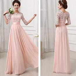 Pink Hollow 2015 Bridesmaids Dresses Lace Chiffon Long 1 2 Long Sleeve Wedding Party Dresses High Quality Evening Prom Gowns