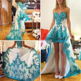 Fashion High Low Prom Dresses Asymmetrical Sweetheart Sweep Train Appliques Lace Prom Party Dress Free Custom Made