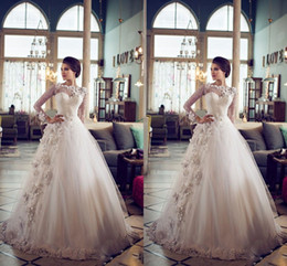 2015 Vintage Wedding Dresses with Long Sleeves Sheer High Neck Puffy A-line Floor Length Lace Wedding Dress with Appliques Plus Size Modest