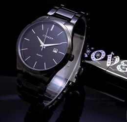 Machos negros en Línea-Nuevo Reloj de cuarzo Curren de acero completo de moda Vogue de lujo Negro Reloj Hombres Hombres de negocios Relogio Masculino vestido de reloj de pulsera de regalo