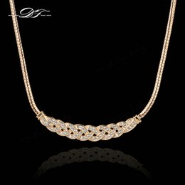 Wholesale-DFN016M Waltz of Love 18K Rose Gold Plated Choker Chain Necklace & pendants Fashion CZ Diamond Jewelry For Women colares