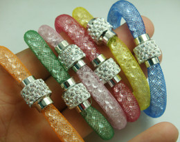 2017 Wholesale mixed Colorful Stardusri Crystal Wrap Mesh Alloy cz Zircon Magnetic Clasp Bracelet Free Shipping
