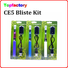 Wholesale eGo CE5 electronic cigarette starter Blister ego kit with CE5 no wick atomizer clearomizer for e liquid mAh ego t battery