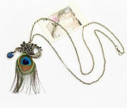 Hot Women's Fashion Vintage Pendant Necklaces Peacock Feather Crystal Pendant Chain Necklace Long Sweater Chain Chic Jewelry
