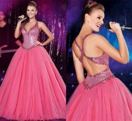 Fuchsia Ball Gown Quinceanera Dresses crystal V Neck Back Criss cross Ruffles pleated Vestidos de Festa Ball Gown Brithday Prom Gowns 2015