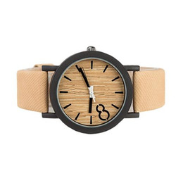 Wholesale S5Q Men Waterproof Alloy Simulation Wood Quartz Analog Leathers Strap Wristwatch AAAEYW