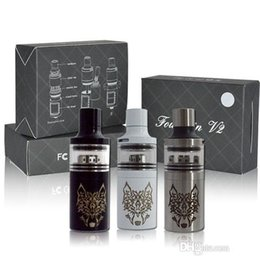 Wholesale Fountain V2 RTA Atomizer with bottom feeding system steel with glass design mm snow wolf RTA Tank Atomizer Fit Mechanical box Mods