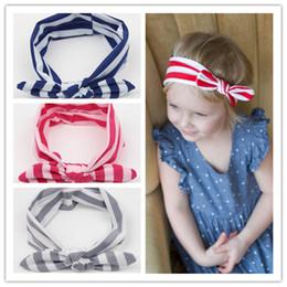 2015 New Soft Elastic Blend Baby Stripe Headbands Girl Hair Bunny Ears Stripe headband Bow Strechy Knot Headwear Holiday Hair Accessories