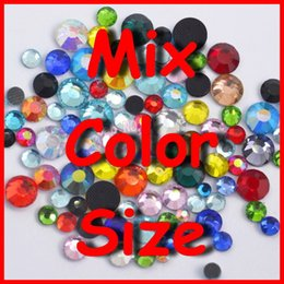 Wholesale-Mix Sizes Mixed Color ,Clear Colored Rhinestones SS6 SS10 SS16 SS20 SS30 DMC FlatBack crystals nail art women dress