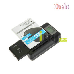 Universal LCD + USB Port 1250mAH Battery Wall Travel Charger For Smart PDA Mobile Phone Galaxy S5 S4 S3 S2 Galaxy Note 3 Note 2 100pcs lot