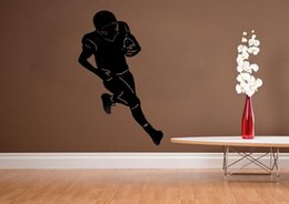 Wholesale Football Silhouette Boys Room decor vinyl wall quote home decoration living room wall pictures removable wall stickers