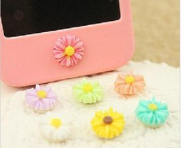 Wholesale 2014 New Fashion Flower Shaped Mobile Phone Stickers For iPhone ipod ipad iTouch Brand Designer Cheap Mini Home Button Sticks