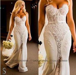 Steven Khalil 2019 Berta Lace Embroidery Mermaid Beach Wedding Dresses Spaghetti Backless Trumpet Bridal princess arabic Wedding Gowns