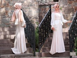 Vestido de noiva White Muslim Evening Dresses With Long Sleeves High Neck Evening Dress With Peplum Vintage Lace Saudi Arabic Dresses LA