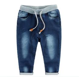 Wholesale 2016 Baby Boys Washed Denim Jeans Harem PP Crochet Pants Trousers Childs Clothing Cowboy Pants Kids Blue KB121