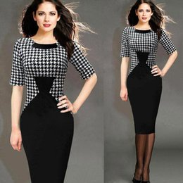 Wholesale 2016 New Fashion Career Ladies Women Patchwork Knee length OL Style Pinup Tunic Wear To Work Business Party Pencil Sheath Dress Free Ship