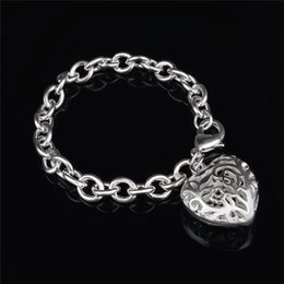 2015 New Design 925 Silver Hollow Heart Pendant Charm Bracelet Fashion Jewelry Valentine's Day gift free shipping