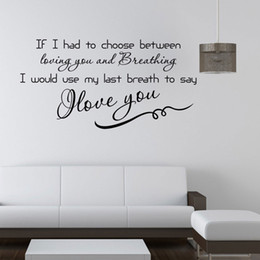Wholesale Love Quote Wall Decals Removable PVC Wall Stickers Home Decor Bedroom Diy Wall Art HDE_0ZZ